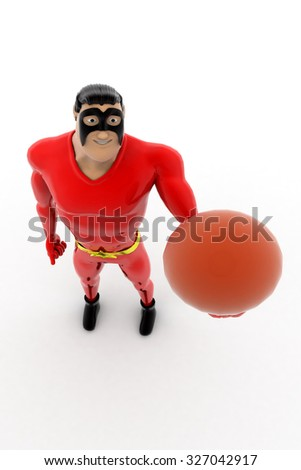 superhero with basket ball concept on white background - 3d rendering,  top angle view - stock photo