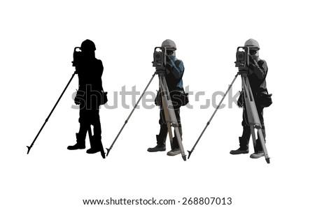 3 surveyor - stock photo