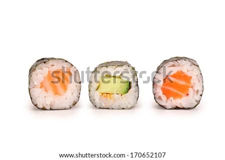 sushi rolls isolated on white background - stock photo