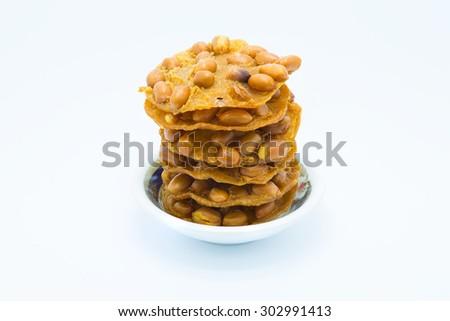 Sweet Homemade Peanut Cookies on white background - stock photo