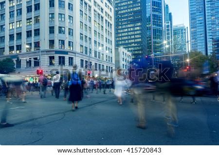 Sydney City Road Pedestrian - stock photo