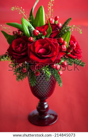 table decoration with flowers  - stock photo