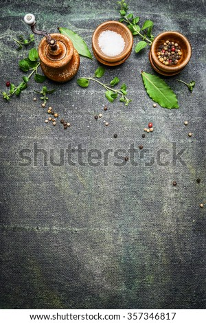 Table set spices, salt and pepper mills on Rustic background , top view, place for text - stock photo