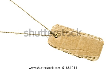 tag cardboard isolated on white background - stock photo