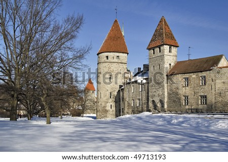Tallinn. Towers in a fortification - stock photo