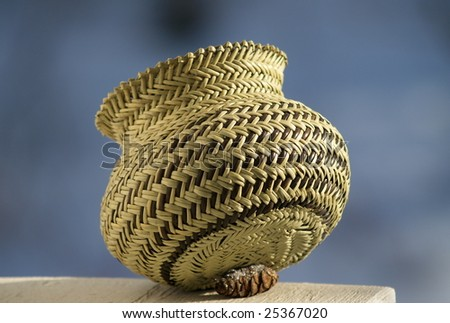 "4"" Tarahumara  Woven Pine Needle Basket, Copper Canyon, Mexico - stock photo"