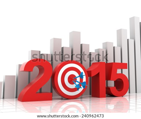 2015 target with bar chart background - stock photo