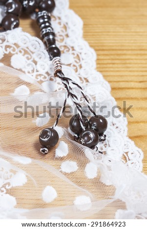 tasbih - moslem prayer beads. Selective focus