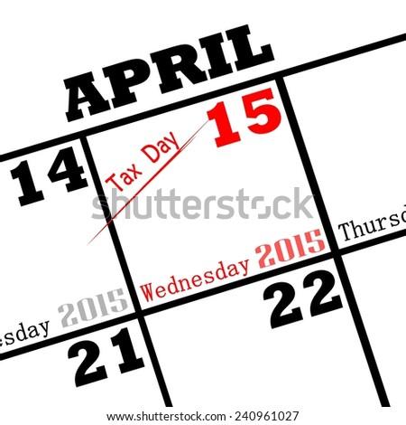 2015 tax day calendar date icon - stock photo