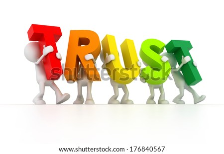Team forming Trust word - stock photo