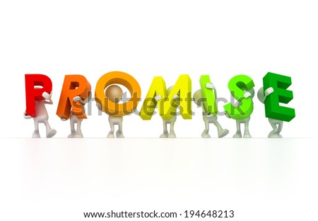 Team holding Promise word - stock photo