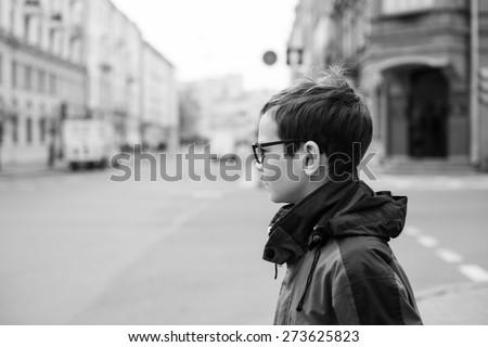 Teenager Portrait on the City Street - stock photo