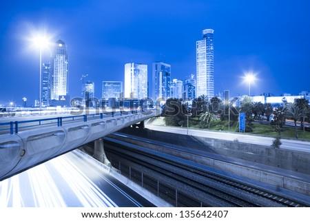Tel Aviv Cityscape - Traffic on Ayalon Freeway - stock photo
