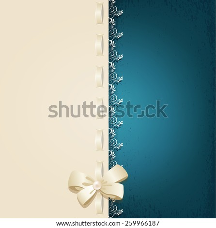 template for wedding background with lace, satin ribbon and lacing  - stock photo