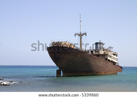 """Temple Hall"" wreck in Costa Teguise, Lanzarote, Canary Islands, Spain - stock photo"
