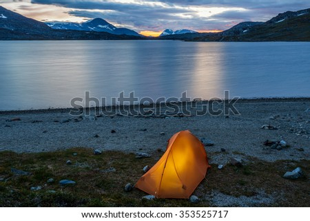 Tent in the Blue Hour  - stock photo