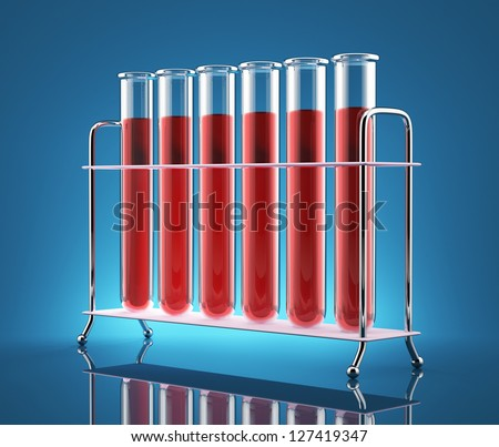 Test tubes with red liquid on a blue background - stock photo