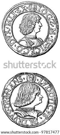"Testoni of Gian Galeazzo Sforza Duke of Milan, 1481 - 1494 - an illustration to articke ""Coins"" of the encyclopedia publishers Education, St. Petersburg, Russian Empire, 1896 - stock photo"