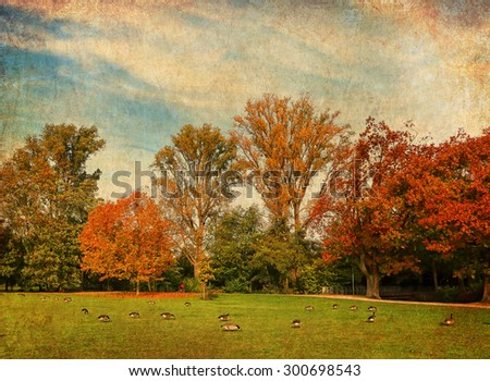 Textured old paper background with image of a beautiful autumn landscape. Vintage  style image - stock photo
