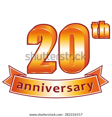 20th anniversary. Golden label. - stock photo