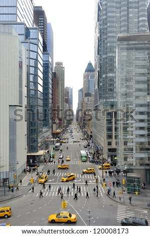 8th Ave seen from Columbus Statue at Columbus Circle in Manhattan, New York - stock photo