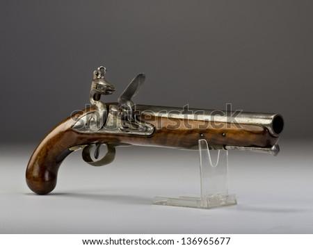 18th Century English Tower heavy dragoon flintlock pistol. - stock photo