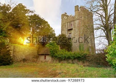 15th century Foulksrath Castle at sunset in County Kilkenny, Ireland - stock photo