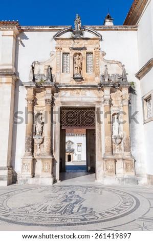 17th century Iron Gate leading to the courtyard of Coimbra University - stock photo