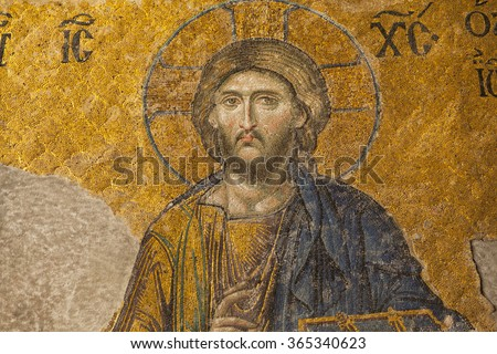 13th century Mosaic of Jesus Christ in the Hagia Sophia temple in Istanbul, Turkey - stock photo