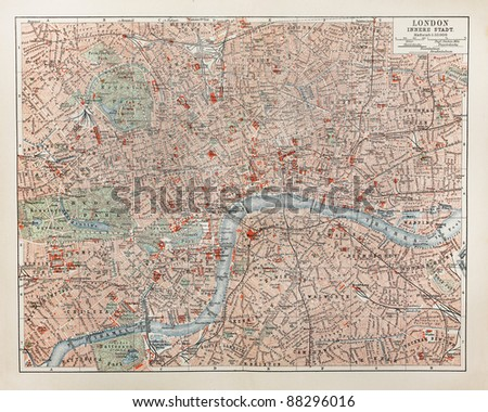 19th century old map of London - stock photo