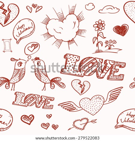 14th February collection. Happy Valentine`s Day elements. Raster version  - stock photo