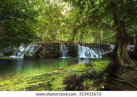 7th floor of Huay Mae Kamin Waterfall, Kanchanaburi, Thailand (HDR process) - stock photo