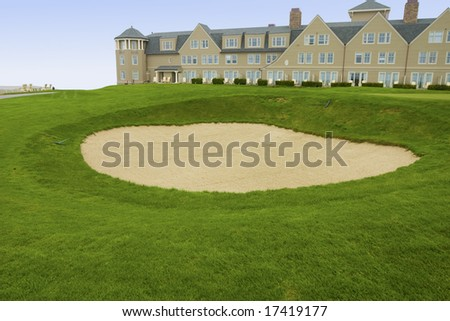 18th Green,  Ocean Course at the Half Moon Bay Golf Links - stock photo