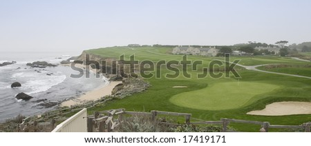 18th Hole,  Old Course at the Half Moon Bay Golf Links - stock photo