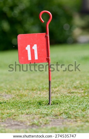 11th hole on mini golf putting course - stock photo