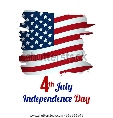 4th of July, American Independence Day grungy wave in national flag colors on white background - stock photo
