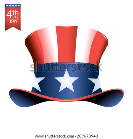 4th of July American independence day illustration on white background. - stock photo