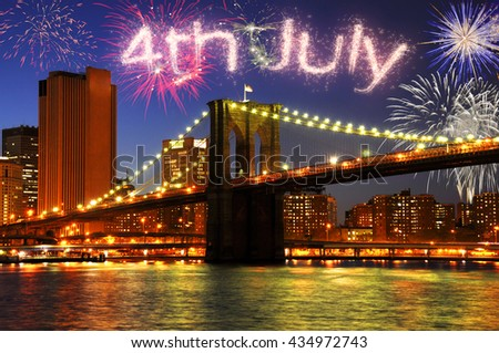 4th of July fireworks in New York City - stock photo
