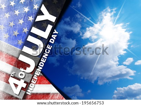 "4th of July - Independence Day / US flag on blue sky with clouds and sunlight with phrase ""4th of July - Independence Day"" - stock photo"