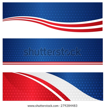 4th of july USA patriotic web header / banner collection on white background - stock photo