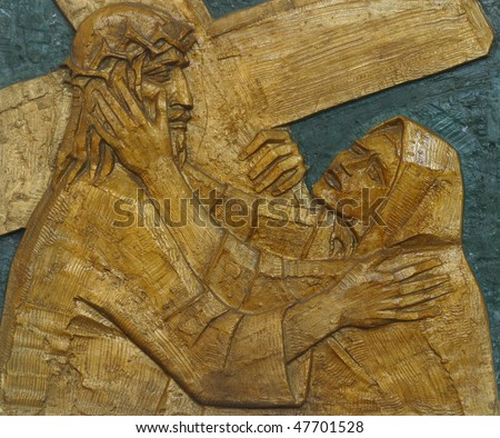 4th Station of the Cross, Jesus meets His Mother - stock photo