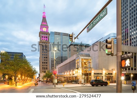 16th Street considered as the main street in Denver, Colorado, US - stock photo