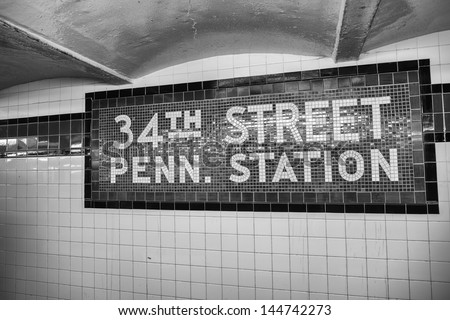 34th street - Penn Station subway sign in New York City. - stock photo