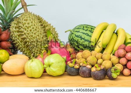 Thai fruit, Fresh mixed fruits background - stock photo