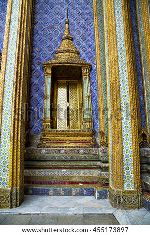 thailand asia   in  bangkok rain  temple abstract cross colors  roof wat  palaces     sky      and  colors religion      mosaic - stock photo