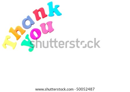 """Thank You"" message in magnetic letters - stock photo"