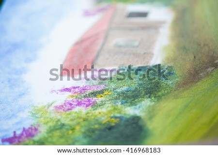 the artist paints a picture - stock photo