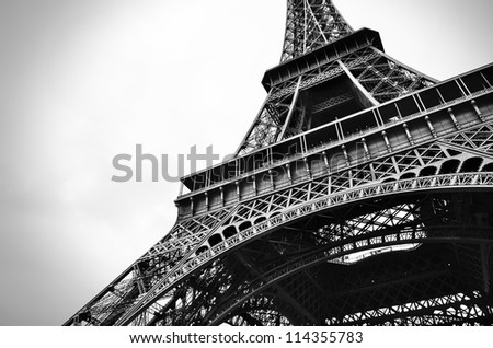 the beautiful Eiffel tower in black and white. - stock photo