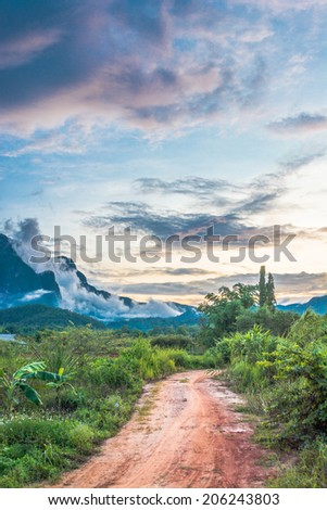 the big mountain  and blue sky with sunset - stock photo