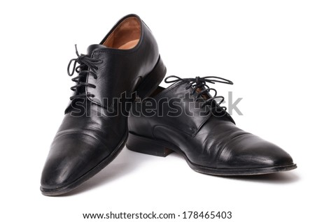 The black shoes isolated on white background.  - stock photo